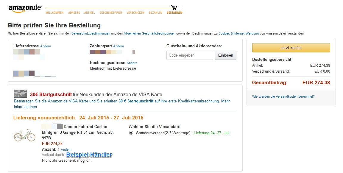 problem amazon sperrgut bestellen