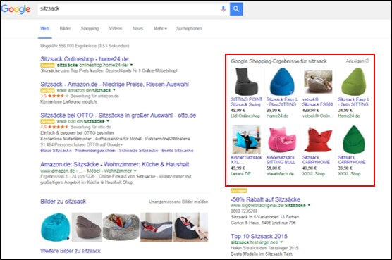 Screenshot Google Shopping