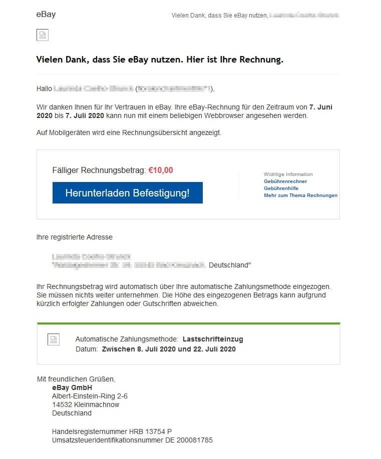 ebay spam rechnung