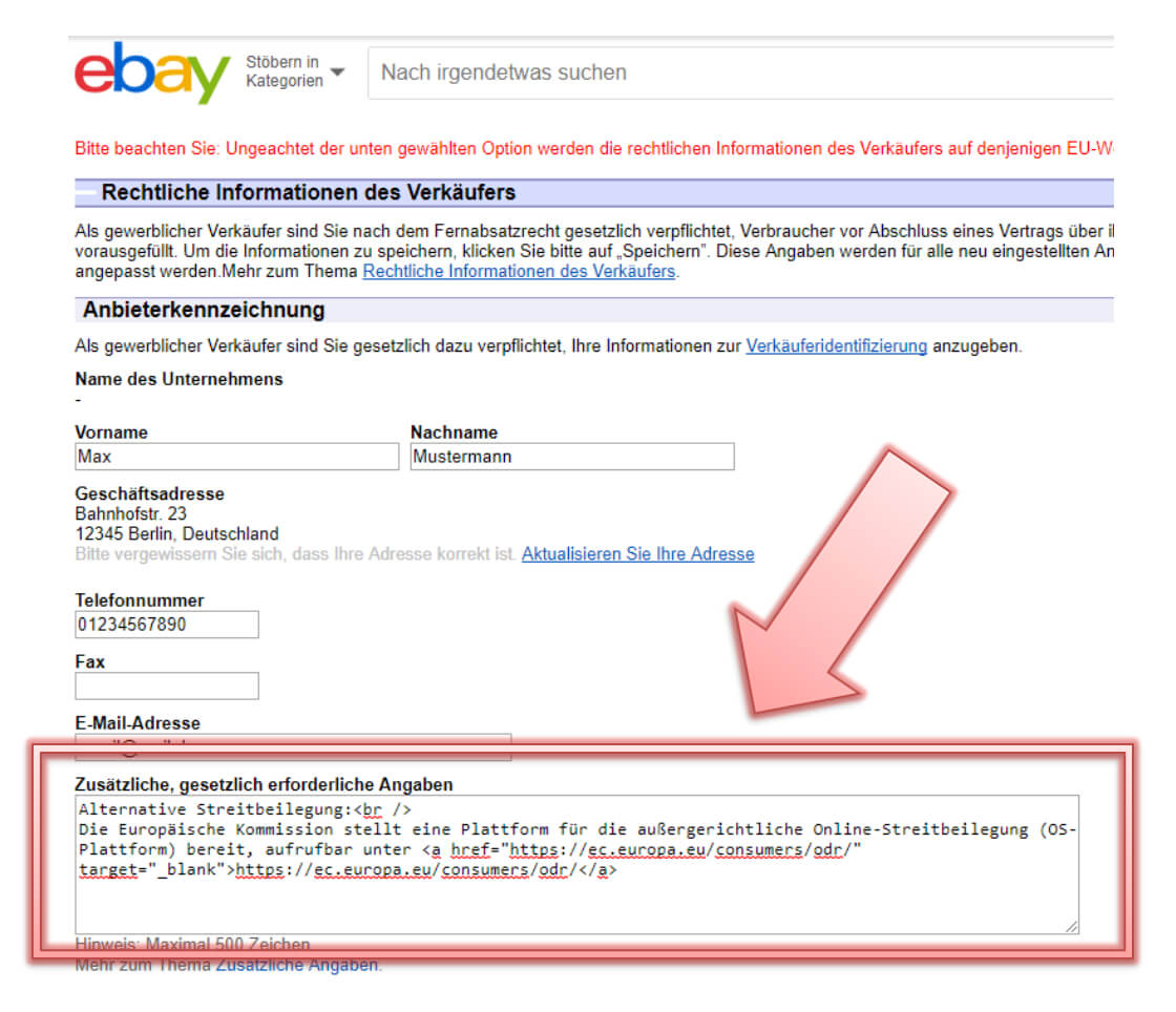 Ebay backend Einstellungen, Screenshot