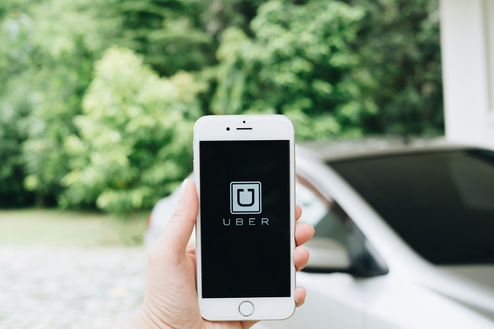 Uber-Logo auf Smartphone-Display