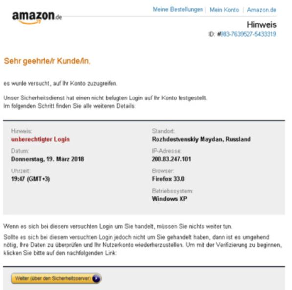 Phishing-Mail Amazon