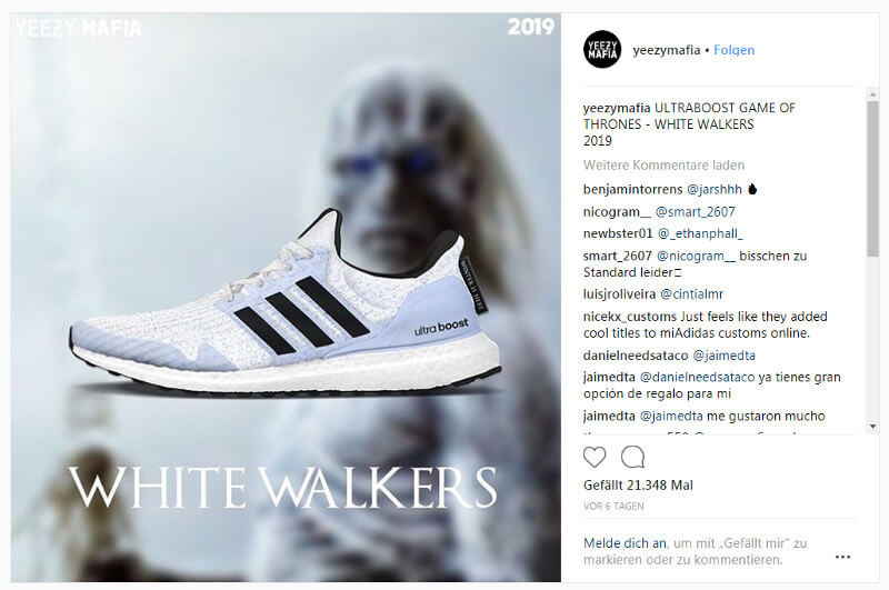 Screenshot: Instagram Yeezy Mafia: Adidas Turnschuhe