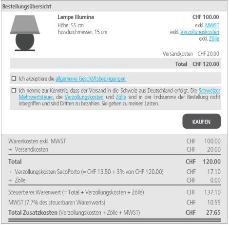 1dda27eba6c378 Händler müssen Schweizer Kunden nun genau über Zollgebühren ...