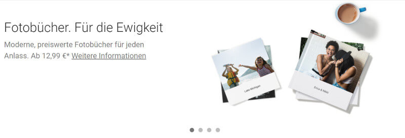 Screenshot der Website: Fotobuch-Service von Google