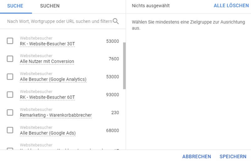 Zielgruppenlisten in Google Ads