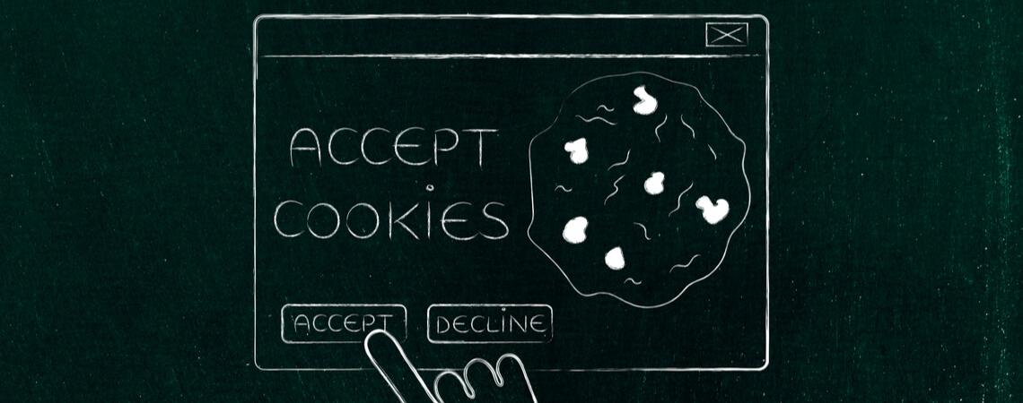 Finger akzeptiert mit Klick Cookies