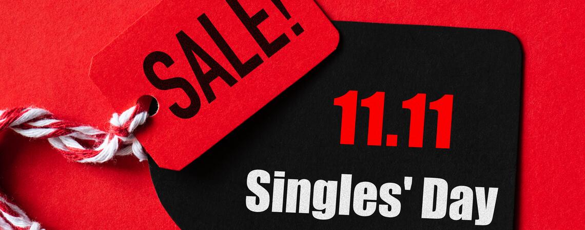 Preisschild mit Rabatt zum Singles Day