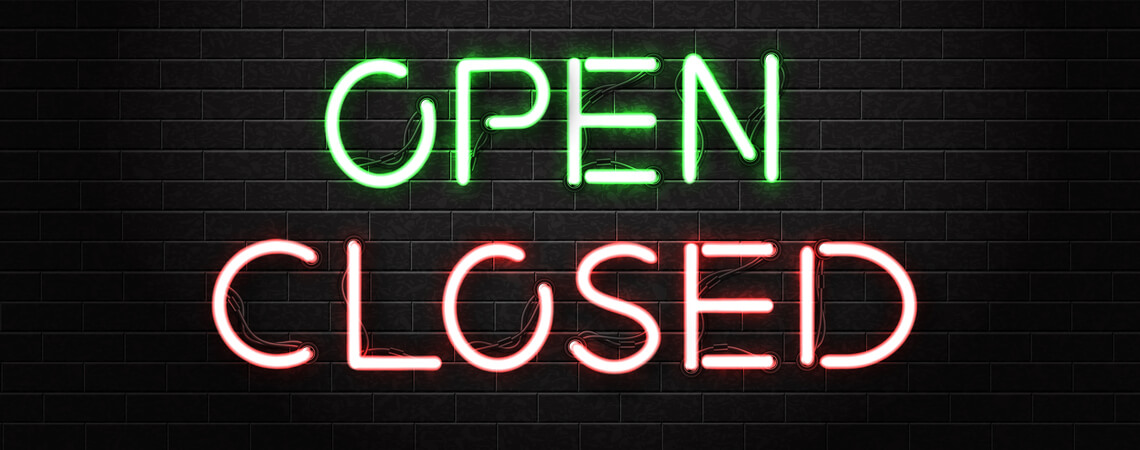Neonschild open closed