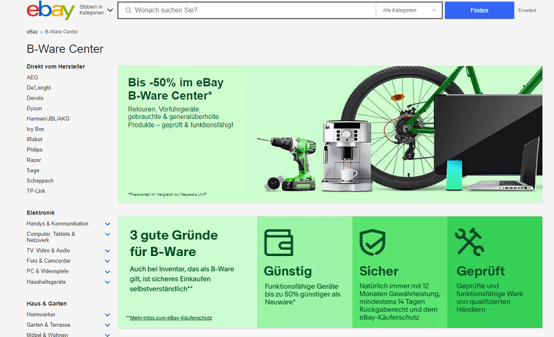 Ebay B-Ware Center / Screenshot Ebay