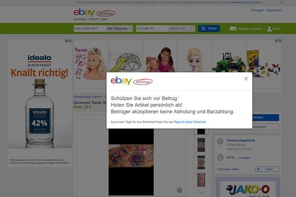 ebay kleinanzeigen betrug t ter fl chtet mit der ware. Black Bedroom Furniture Sets. Home Design Ideas