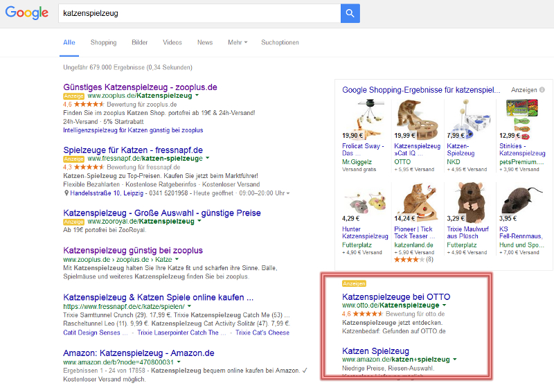 Google Adwords Anzeigen, Screenshot  © Google