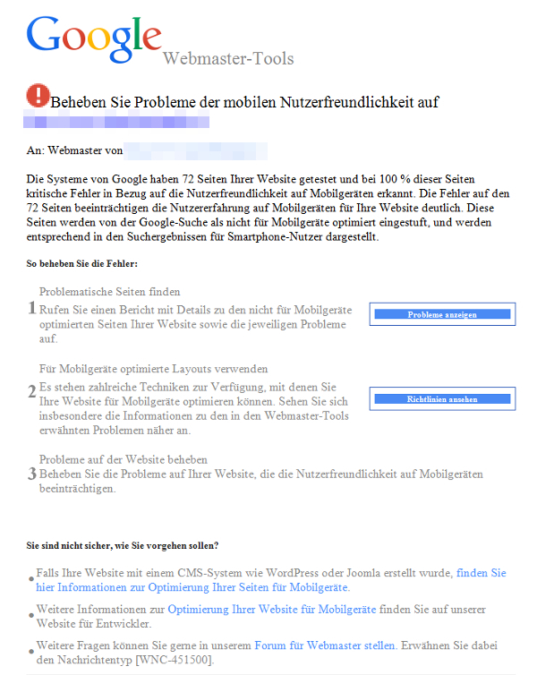 Screenshot Google E-Mail Warnung