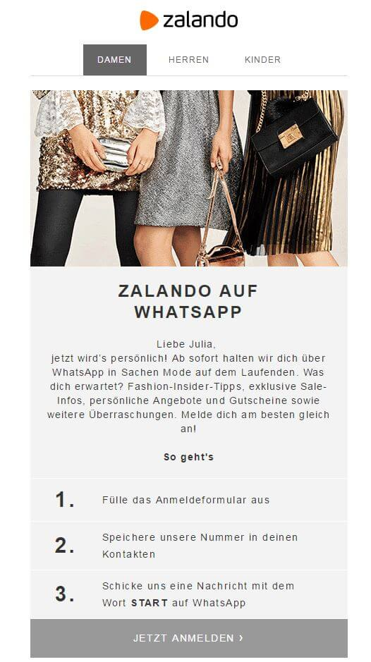 zalando verschickt newsletter ber whatsapp. Black Bedroom Furniture Sets. Home Design Ideas