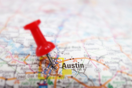 Landkarte mit Pin in Austin, Texas