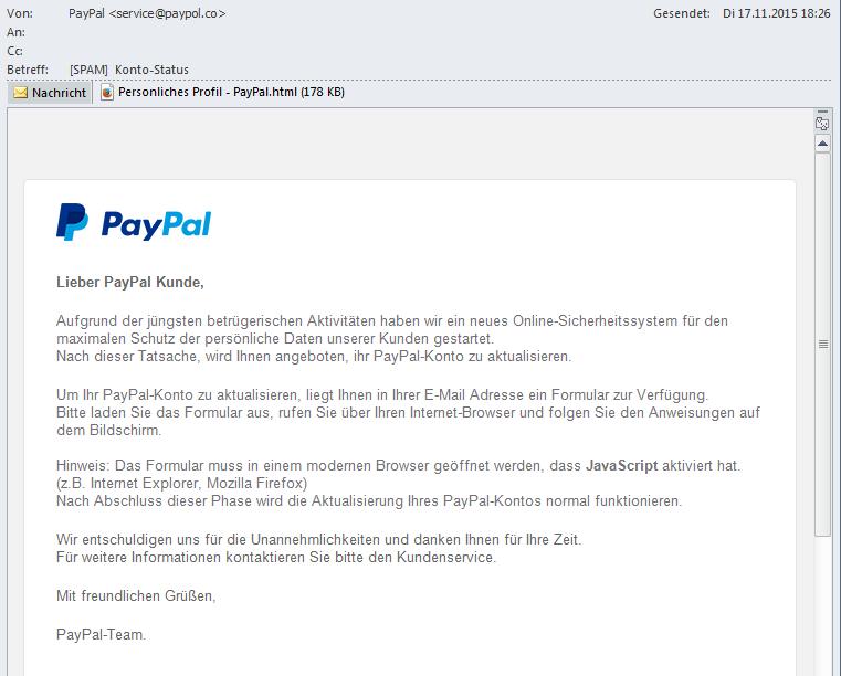 Paypal Falsche Mails